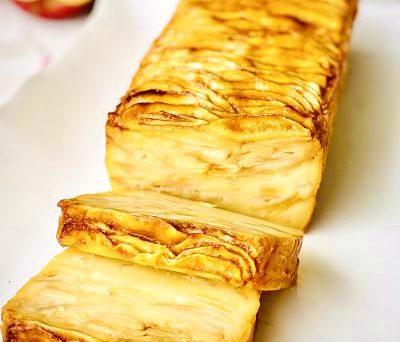 Prăjitură invizibilă cu mere și caramel
