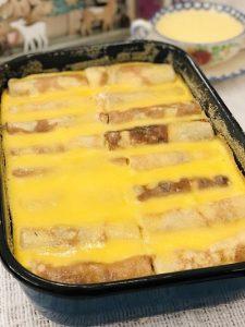 Clătite cu brânză și stafide la cuptor